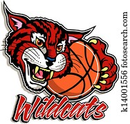 cute wildcat with basketball