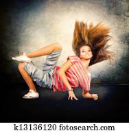 Dance. Hip-Hop Dancer. Dancing Teenage Girl