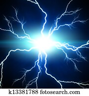 Digital background Electric flash of lightning on a blue backgrou