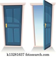 doors,, geschlossene, und, offenes