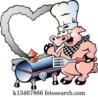 ein, küchenchef, schwein, machen, machen, grillspass