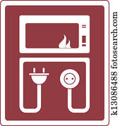 electrical microwave oven symbol