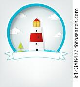 emblem, mit, leuchtturm