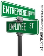 Employee Entrepreneur business decision sign