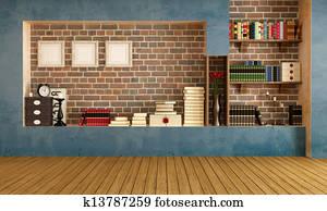 Empty retro living room