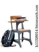 Empty School Desk with supplies