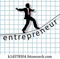 Entrepreneur on tightrope start up success