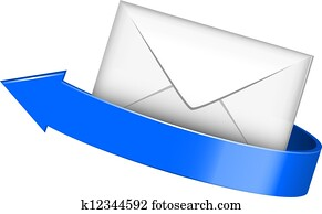 Envelope with blue arrow