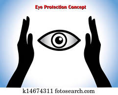 Eye Protection or Eye Doctor Concept Illustration using hand silhouettes protecting an open eye at the middle
