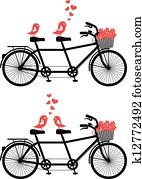 fahrrad, mit, liebe, birds,, vektor