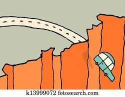 fallender, auto, /, weg springen, a, felsformation