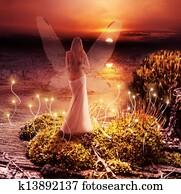Fantasy magic world. Pixie and sunset