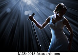 Female singer on the stage
