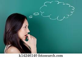 female student thinking of something