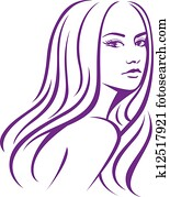 female woman with long hair