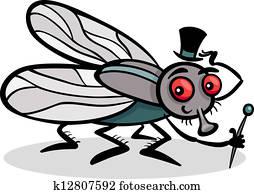 fliege, insekt, karikatur, abbildung