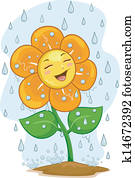 Flower Mascot Under the Rain