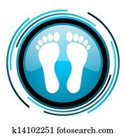 footprint blue circle glossy icon
