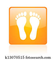 footprint orange square glossy web icon