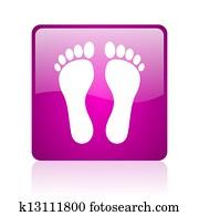 footprint violet square web glossy icon