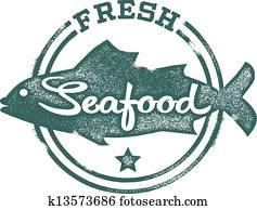 frische meeresfrüchte, menükarte, briefmarke