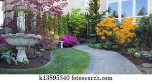 Frontyard Landscaping with Paver Walkway