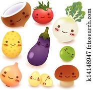 frucht, und, gemüse, sammlung