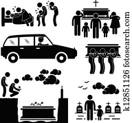 Funeral Burial Ceremony Pictogram