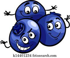 funny blueberry fruits cartoon illustration