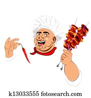 Funny Chef and delicious hot skewer