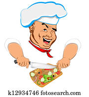 Funny Chef and fresh vegetable