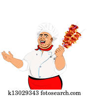 Funny Chef and skewer with cheese