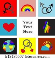 gay love; colorful set lightning