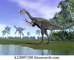 Gigantoraptor dinosaurs in nature - 3D render