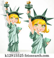 Girl dressed as the Statue Liberty