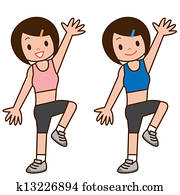 Girl to do aerobics