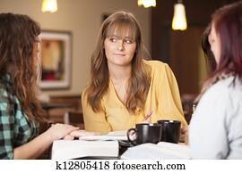 Girls Thinking At Bible Study