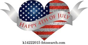 glücklich, 4. july, herz, mit, rolle