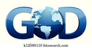 god text and globe