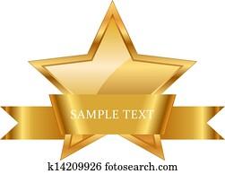 gold star award with shiny ribbon