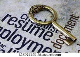Golden key on resume text