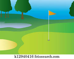 Golf Green With Flag