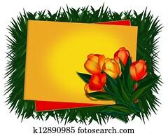 Greeting card. Tulips.