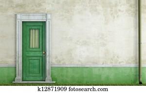 Grunge house facade with front door