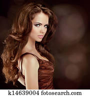 4dab568d7f3 Beautiful Sexy Brunette Woman. Healthy Long Brown Hair. Beauty Model Girl.