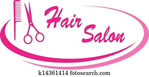 hair salon sign with design element