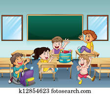 Happy students inside a classroom