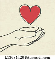 Heart in hands.
