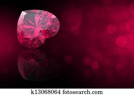 Heart shape gemstone. Collections of jewelry gems on black. Ruby