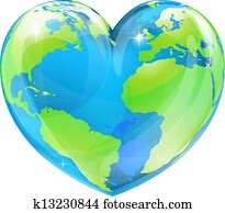Heart world globe concept